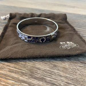 Coach bangle bracelet purple silver